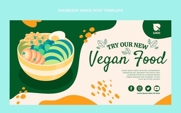 Пост в фейсбуке с веганской едой в плоском дизайне