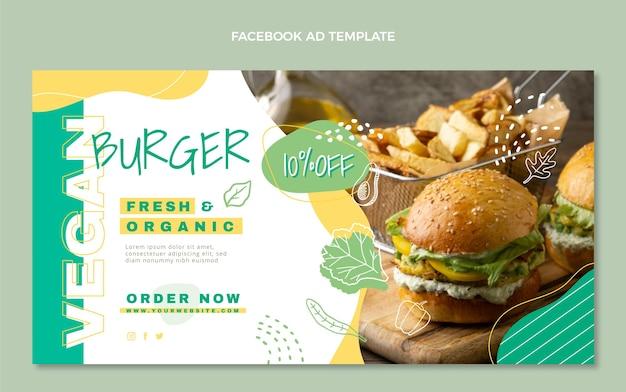 Modello di facebook cibo vegano design piatto