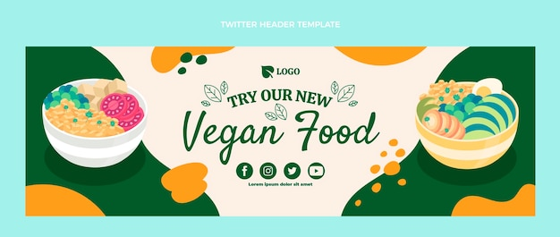 Плоский дизайн заголовка в twitter о веганской еде