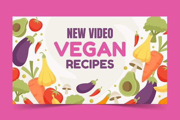 Flat design vegan recipes youtube thumbnail