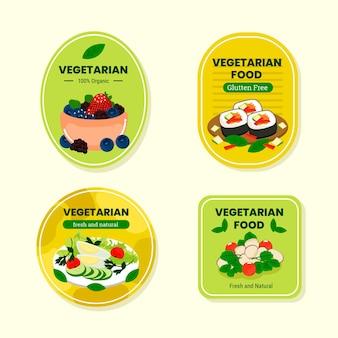Collezione di badge vegetariani dal design piatto