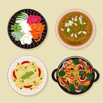 Коллекция вегетарианских продуктов в плоском дизайне