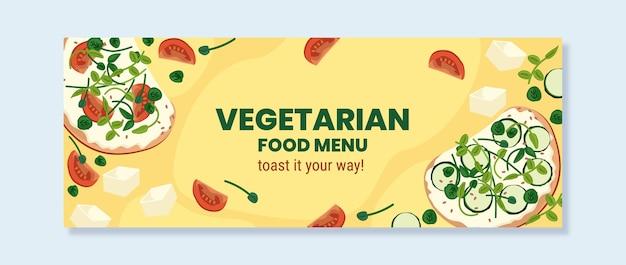 Copertina facebook di cibo vegetariano design piatto