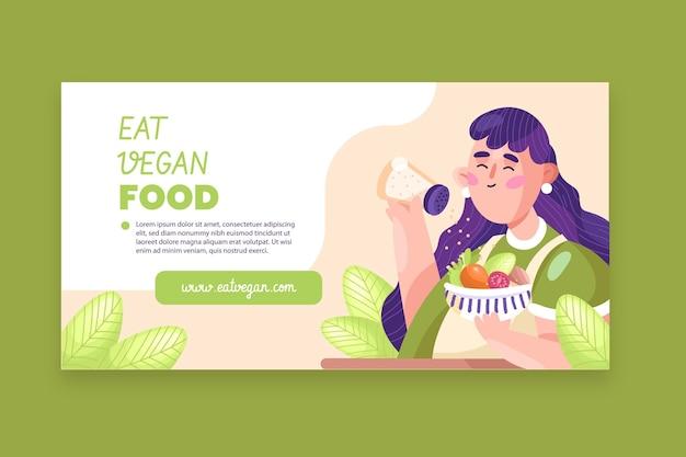Плоский дизайн вегетарианской еды в facebook
