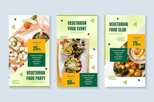 Storie di instagram di cibo vegetariano dal design piatto