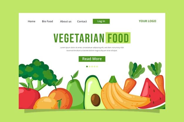 Modello di pagina di destinazione del cibo vegetariano design piatto