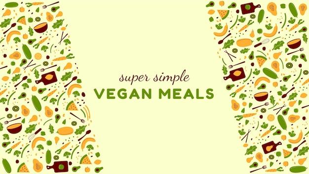Канал youtube в плоском дизайне вегетарианской еды
