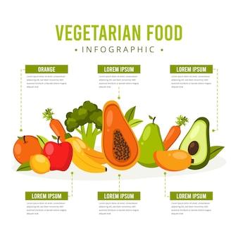 Плоский дизайн вегетарианской инфографики