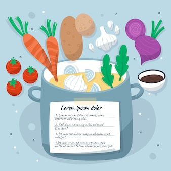 Flat design vegetarian recipe template