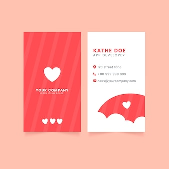 Flat design vertical business cards