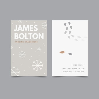 Flat design vertical double sided business card