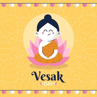 Flat design vesak celebration