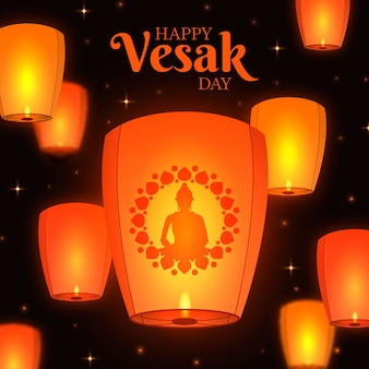 Flat design vesak concept with candles