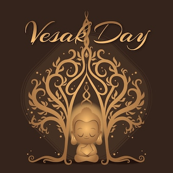 Flat design vesak day event