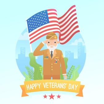 Flat design veterans day concept