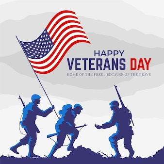 Flat design veterans day concept