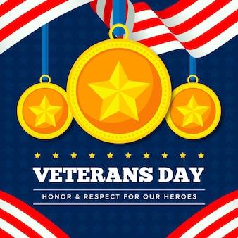 День ветеранов в плоском дизайне