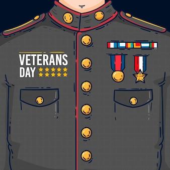 フラットなデザインの退役軍人の日イラスト