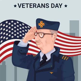 フラットなデザインの退役軍人の日スタイル