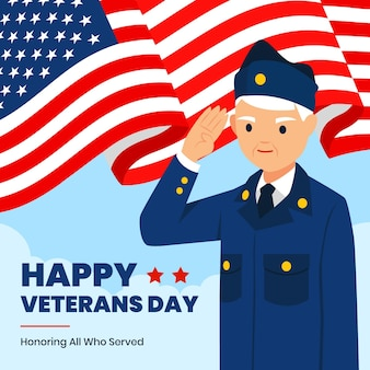 Flat design veterans day
