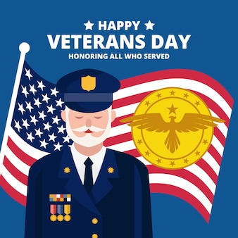 Flat design veterans day