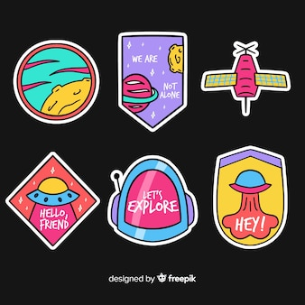 Flat design vibrant space sticker collection
