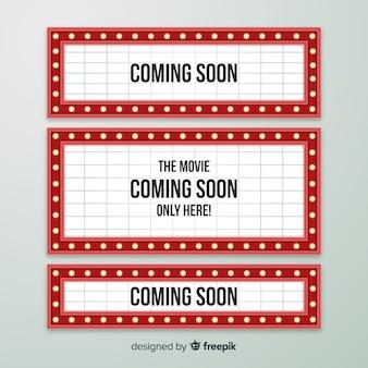 평면 디자인 빈티지 극장 표지판 컬렉션
