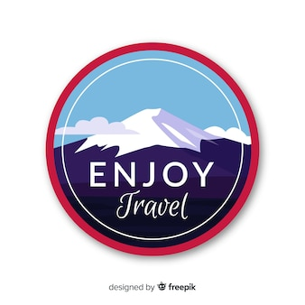 Flat design vintage travel label