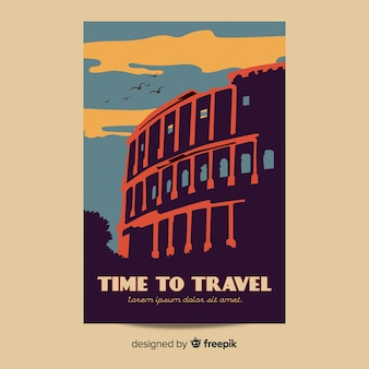フラットデザインのビンテージ旅行のポスター