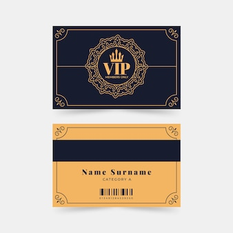 Flat design vip cards with crown