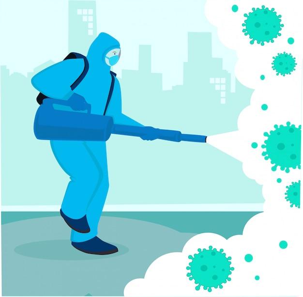 フラットなデザイン、ウイルス消毒のコンセプト