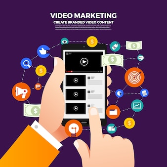 Плоский дизайн концепции vlog. создавайте видеоконтент и зарабатывайте деньги. иллюстрировать