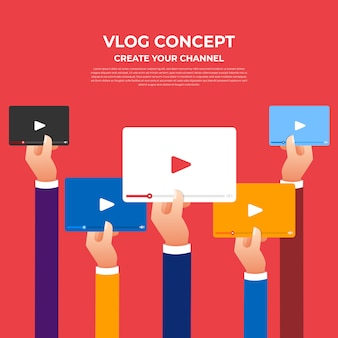 Flat design vlog concept. create video content and make money. illustrate