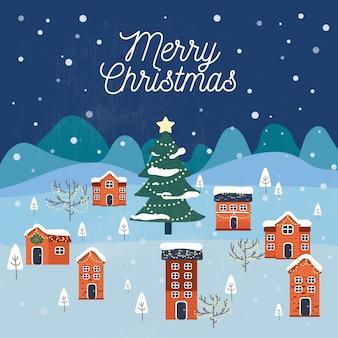 Flat design wallpaper christmas town