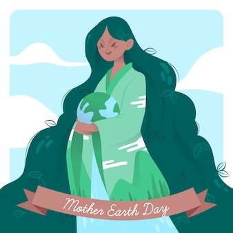 Flat design wallpaper mother earth day