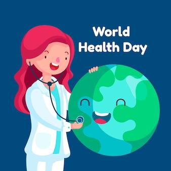Плоский дизайн обоев всемирный день здоровья