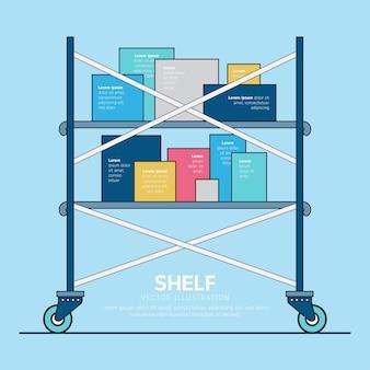 Flat design warehouse shelf with box concept