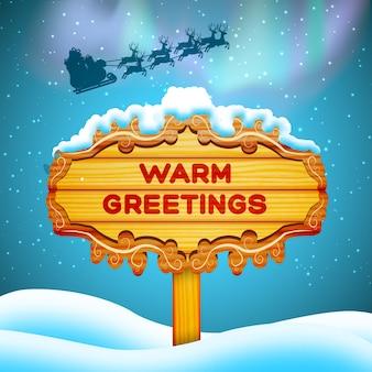 Saluti calorosi design piatto cartello in legno e babbo natale nell'illustrazione di vettore del fondo del cielo