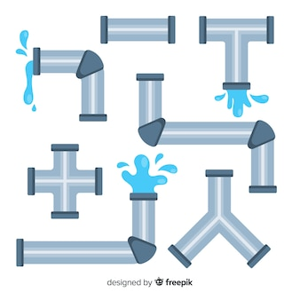 Flat design water pipeline collection