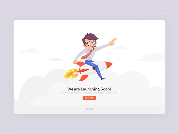 Flat design we are launching soon template