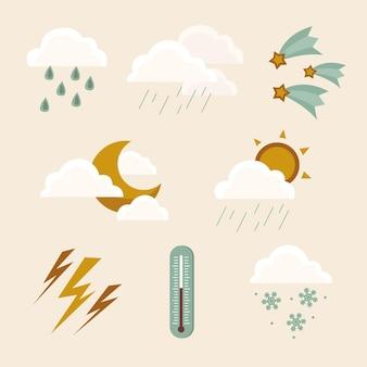 평면 디자인 날씨 효과 컬렉션