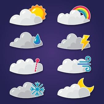 Collezione di effetti meteorologici dal design piatto