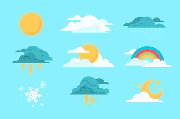 Flat design of weather effects