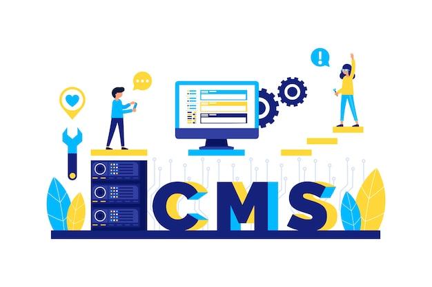 Плоский дизайн концепции веб-разработки cms