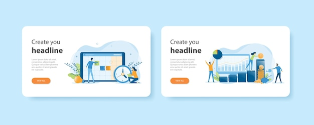 Flat design web landing home page templates of business planning and business finance investment and savings concept