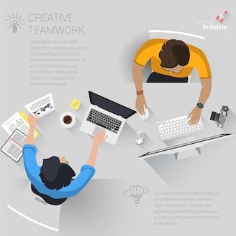 창의적인 비즈니스 프로세스 및 비즈니스 전략, 팀워크에 대한 평면 디자인 웹 페이지 개념. 웹 사이트 및 모바일 앱을위한 트렌디 한 홈 오피스 및 아웃소싱.