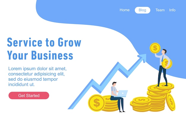 금융의 평면 디자인 웹 페이지 템플릿