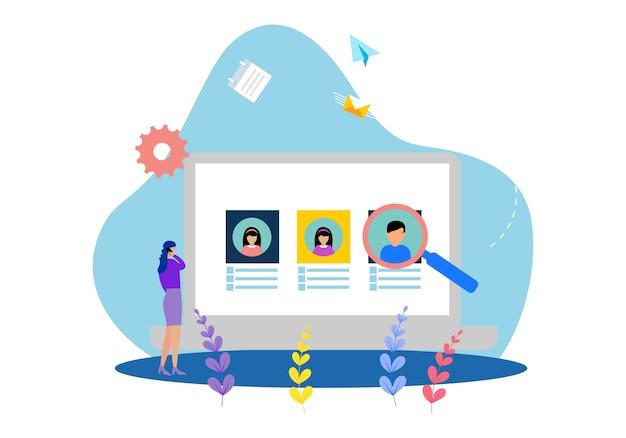 Плоские шаблоны веб-страниц дизайна онлайн-работы по подбору персонала