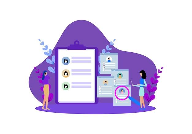 온라인 모집 작업의 평면 디자인 웹 페이지 템플릿