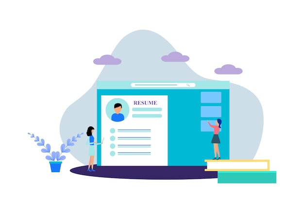 Flat design web page templates of online recruitment job
